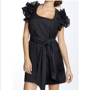 French Connection Black Ruffle Sleeve Dress